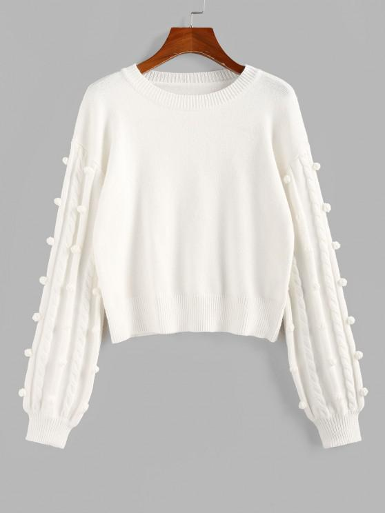 ZAFUL Unbridled Bauble Drop Shoulder Jumper Sweater - أبيض S