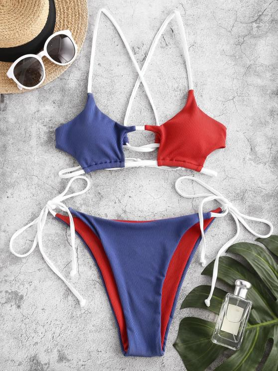 ZAFUL Ribbed Colorblock Cutout String Bikini Swimwear - متعدد S