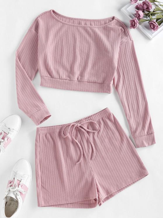 shop ZAFUL Lounge Ribbed Drop Shoulder Boat Neck Shorts Set - ORANGE PINK M