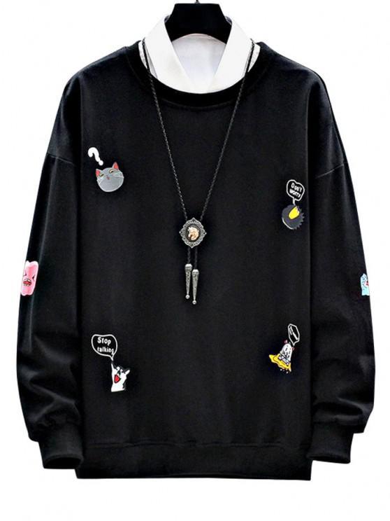 fancy Cartoon Animal Letter Print Drop Shoulder Sweatshirt - BLACK S