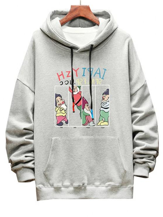 Funny Cartoon Letter Graphic Drop Shoulder Hoodie - رمادي فاتح M