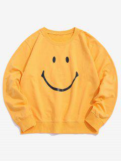 Lounge Smiley Face Graphic Crew Neck Sweatshirt - Yellow M