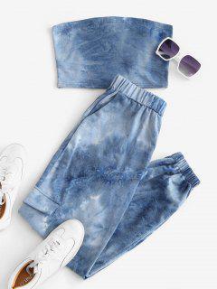 Sweat Tie Dye Two Piece Jogger Pants Set - Blue Xl