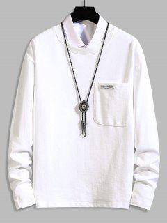 Pocket Patch Plain Long Sleeve T-shirt - White 4xl