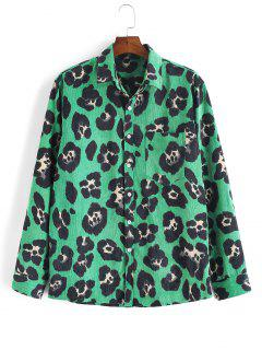 Leopard Animal Print Corduroy Shirt - Deep Green 3xl