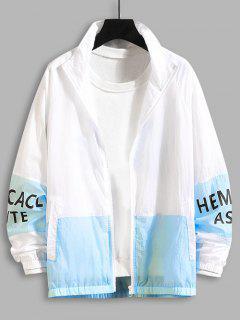 Letter Print Zip Up Contrast Sun-protective Jacket - Deep Sky Blue 2xl