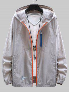 Colorblock Zip Up Sun Proof Hooded Jacket - Gray Cloud 3xl