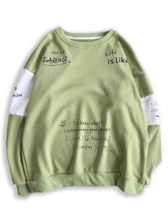 Letter Print Contrast Slogan Sweatshirt - Pistachio Green L