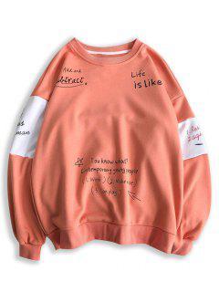 Letter Print Contrast Slogan Sweatshirt - Watermelon Pink Xl
