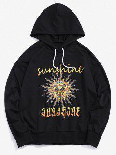 Celestial Sun Sunshine Graphic Drop Shoulder Hoodie - Black M