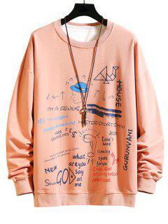 Drawing Letter Graphic Print Sweatshirt - Pink 3xl
