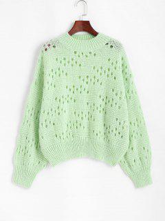 Mock Neck Drop Shoulder Pointelle Knit Sweater - Green