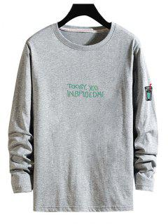 Letter Drink Print Long Sleeve T Shirt - Gray S