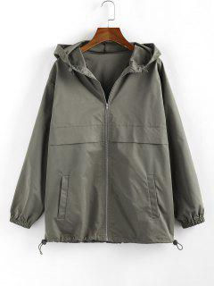ZAFUL Hooded Toggle Drawstring Zipper Jacket - Army Green M