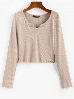 ZAFUL Lettuce Trim Notched Crop Solid Tee - Light Coffee S
