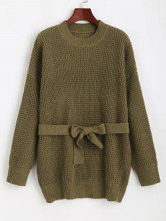 Chunky Knit Drop Shoulder Belted Tunic Sweater - Green
