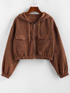 ZAFUL Corduroy Drop Shoulder Pocket Hooded Jacket - Chestnut M
