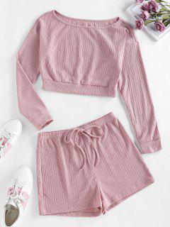 ZAFUL Lounge Ribbed Drop Shoulder Boat Neck Shorts Set - Orange Pink S