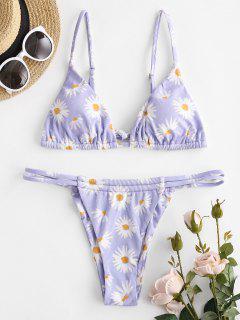 ZAFUL Daisy Ribbed String Bikini Swimwear - Light Purple M