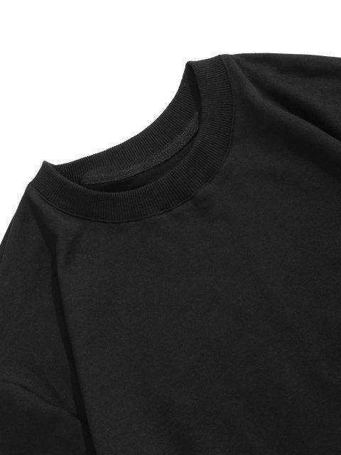 Buchstabe Grafik Druck Rippen Strick Trimm Hoodie - Schwarz 2XL Mobile