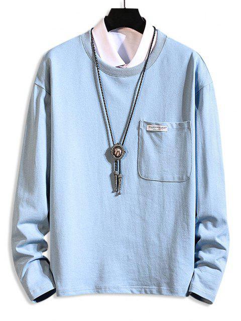 outfit Pocket Patch Plain Long Sleeve T-shirt - MIST BLUE 3XL Mobile