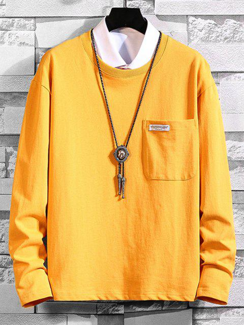 fancy Pocket Patch Plain Long Sleeve T-shirt - BRIGHT YELLOW M Mobile