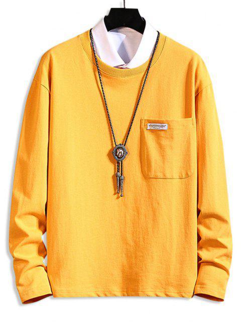 unique Pocket Patch Plain Long Sleeve T-shirt - BRIGHT YELLOW 4XL Mobile