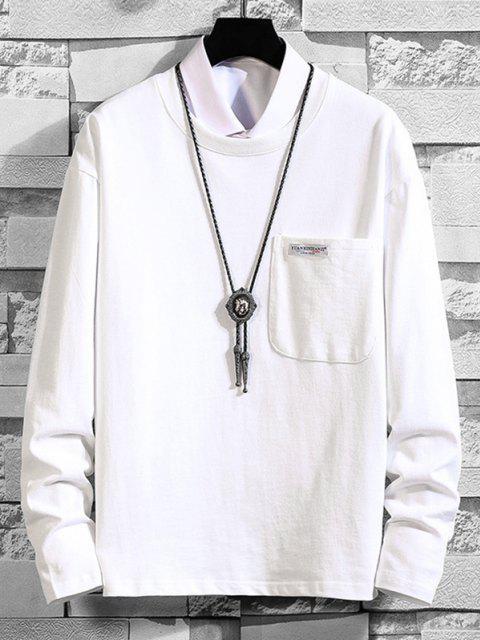 Maglietta in Tinta Unita a Maniche Lunghe con Tasca - Bianca 2XL Mobile