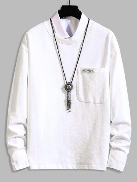 online Pocket Patch Plain Long Sleeve T-shirt - WHITE 3XL Mobile