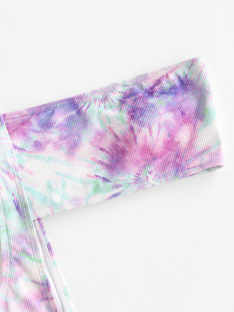 fashion ZAFUL Ribbed Tie Dye One Shoulder Suspender Bikini Swimwear - MULTI S Mobile