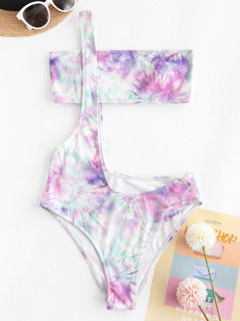 fancy ZAFUL Ribbed Tie Dye One Shoulder Suspender Bikini Swimwear - MULTI L Mobile