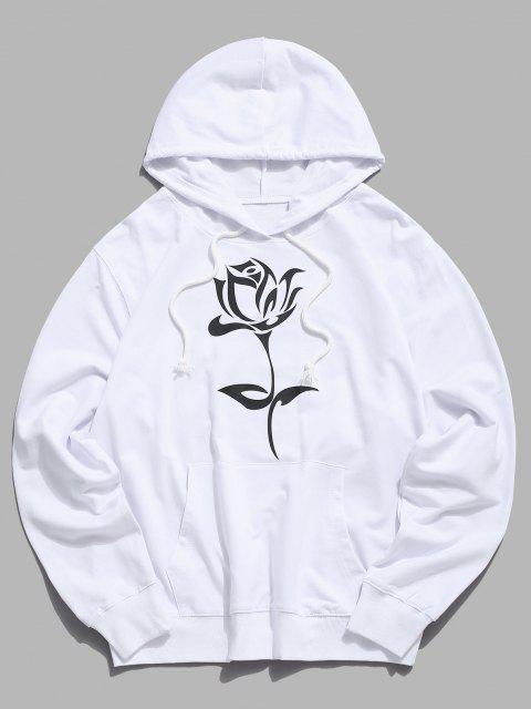 Tasche Blumen Grafik Beutel Tasche Kapuze Hoodie - Weiß M Mobile