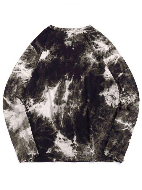new Tie Dye Heart Print Long Sleeve T-shirt - BLACK 2XL Mobile