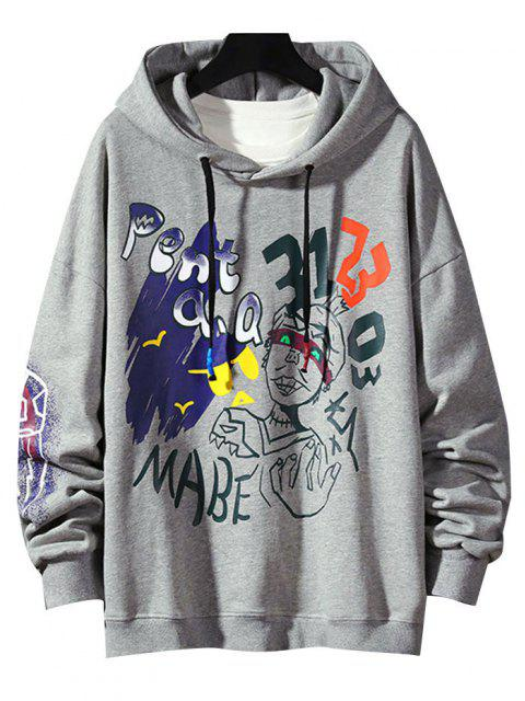 fashion Funny Graphic Print Streetwear Hoodie - LIGHT GRAY 3XL Mobile