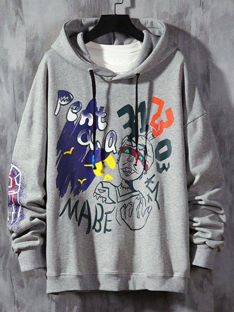 ladies Funny Graphic Print Streetwear Hoodie - LIGHT GRAY S Mobile