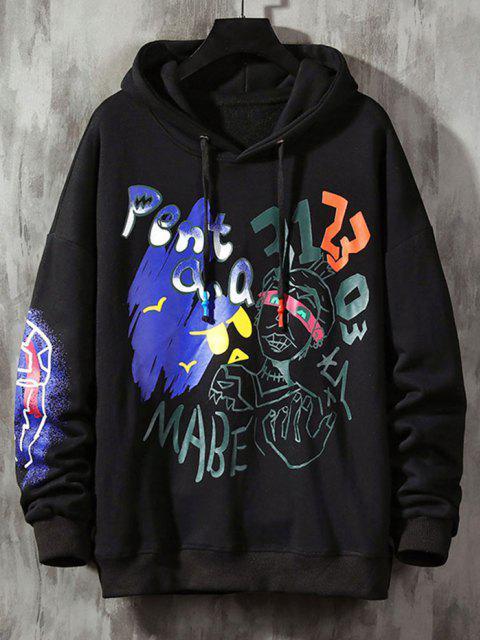 trendy Funny Graphic Print Streetwear Hoodie - BLACK 2XL Mobile