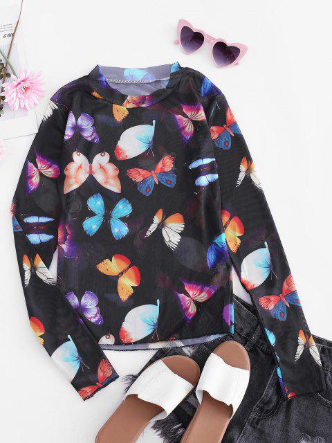 T-shirt Maigre Papillon en Maille Transparente - Noir Taille Unique Mobile
