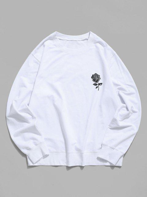 lady Rose Graphic Crew Neck Casual Sweatshirt - WHITE 2XL Mobile