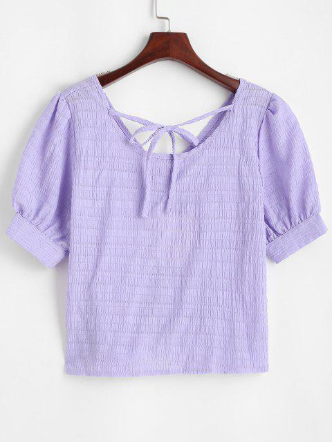 unique Glitter Textured Ruched Tie Casual Blouse - PURPLE M Mobile