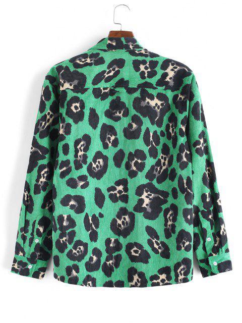new Leopard Animal Print Corduroy Shirt - DEEP GREEN XL Mobile