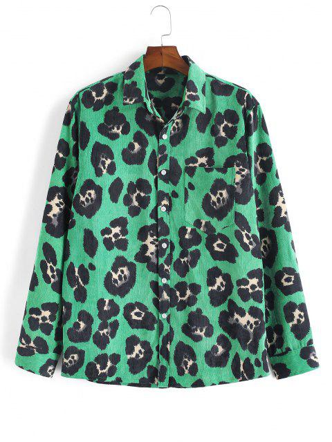 Leopard Tierdruck Kord Hemd - Dunkelgrün 3XL Mobile