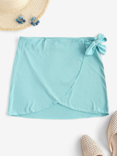 new ZAFUL Ribbed Tie Side Tulip Beach Skirt - LIGHT BLUE L Mobile