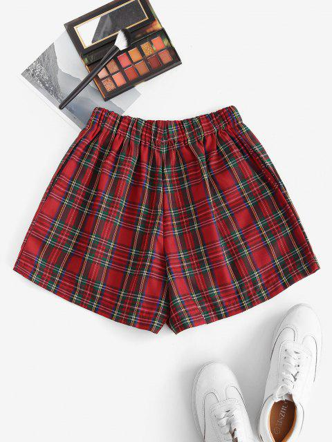 fancy Plaid Pocket High Waisted Shorts - RED M Mobile