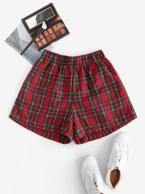 sale Plaid Pocket High Waisted Shorts - RED L Mobile