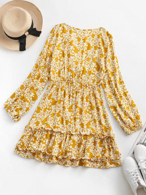 shops Floral Tie Front Ruffles Long Sleeve Dress - YELLOW M Mobile
