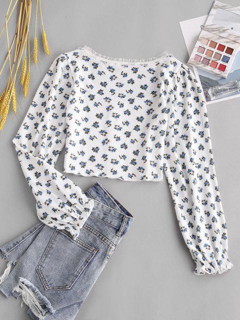 women's ZAFUL Flower Print Poet Sleeve Heart Shaped Button Top - WHITE L Mobile