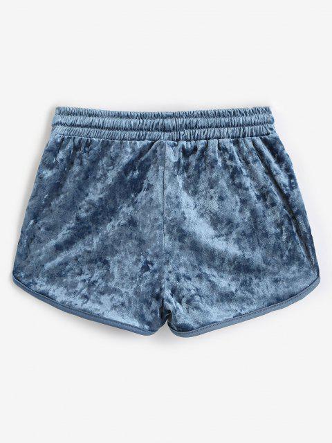 Velvet Drawstring Dolphin Gym Shorts - ازرق غامق M Mobile