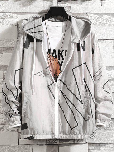 Giacca con Cappuccio Impermeabile con Stampa Lettere - Grigio 3XL Mobile