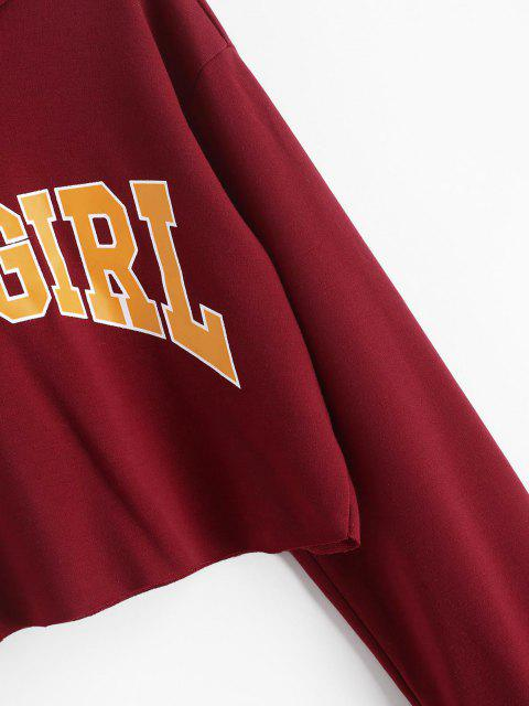 women Graphic Raw Hem Cropped Hoodie - DEEP RED S Mobile