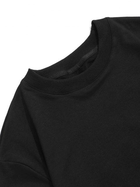 Sweat-shirtPull-over Graphique Imprimé à Ourlet Côtelé - Noir S Mobile